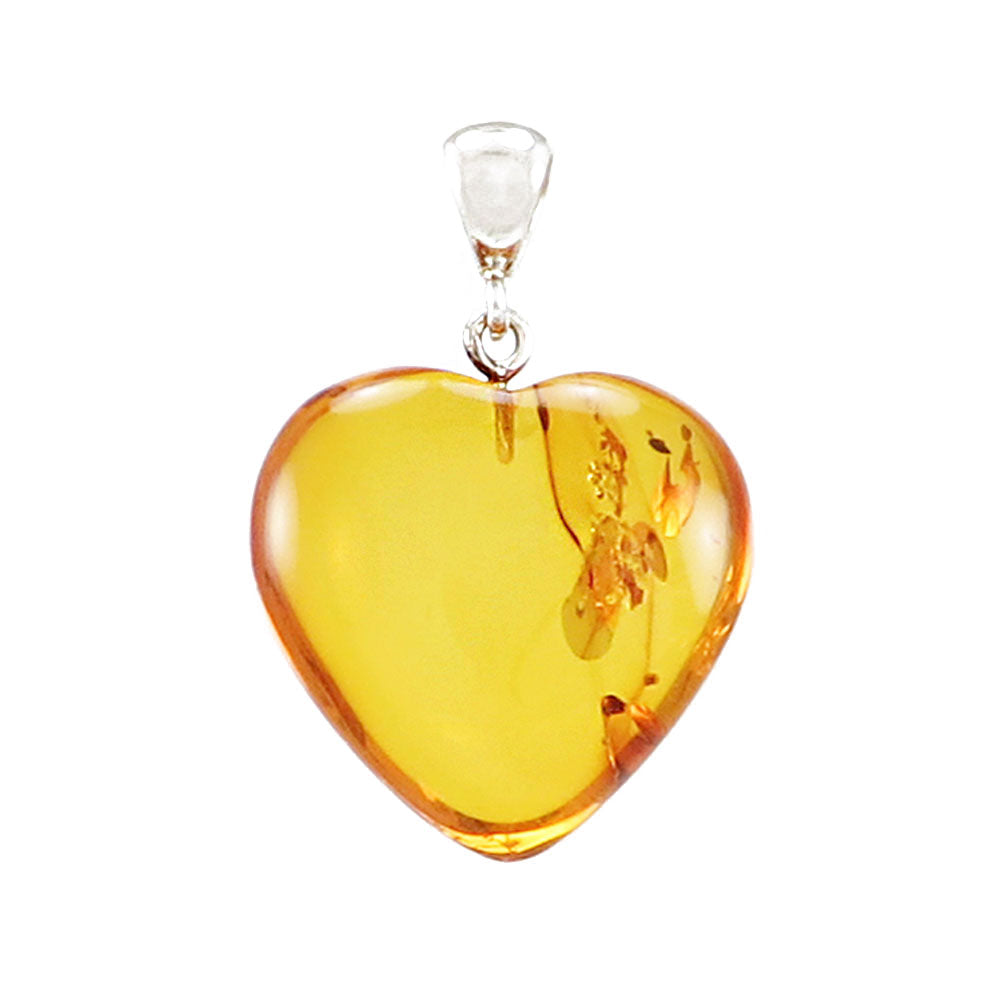 Cognac Amber Heart Pendant Sterling Silver - Amber Alex Jewelry