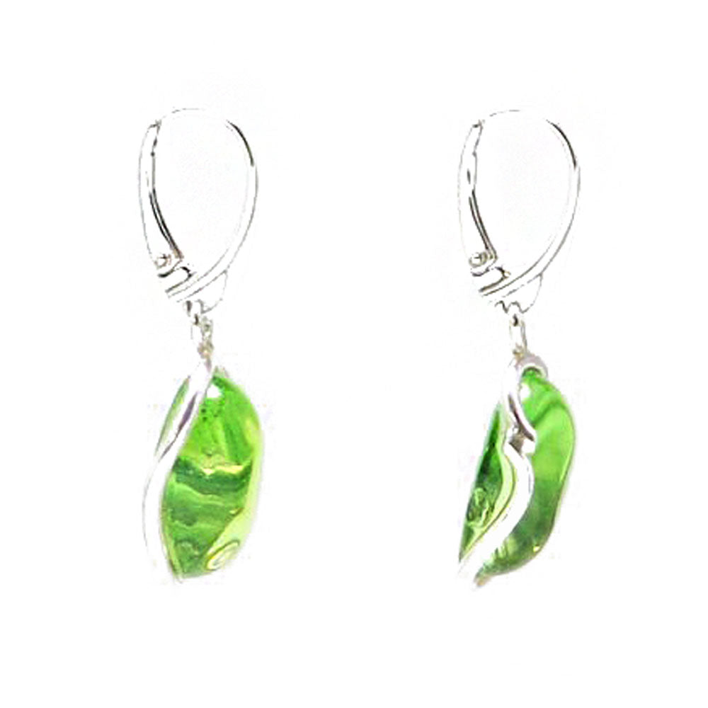 Green Caribbean amber & silver 925 earrings - Amber Alex Jewelry