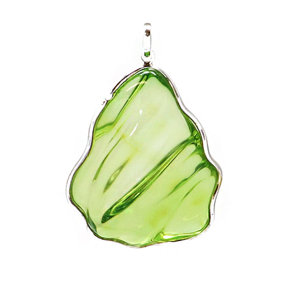Green Amber Wave Pendant Sterling Silver