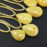 Lemon with Dark Flakes Amber Pendant Beaded Necklace