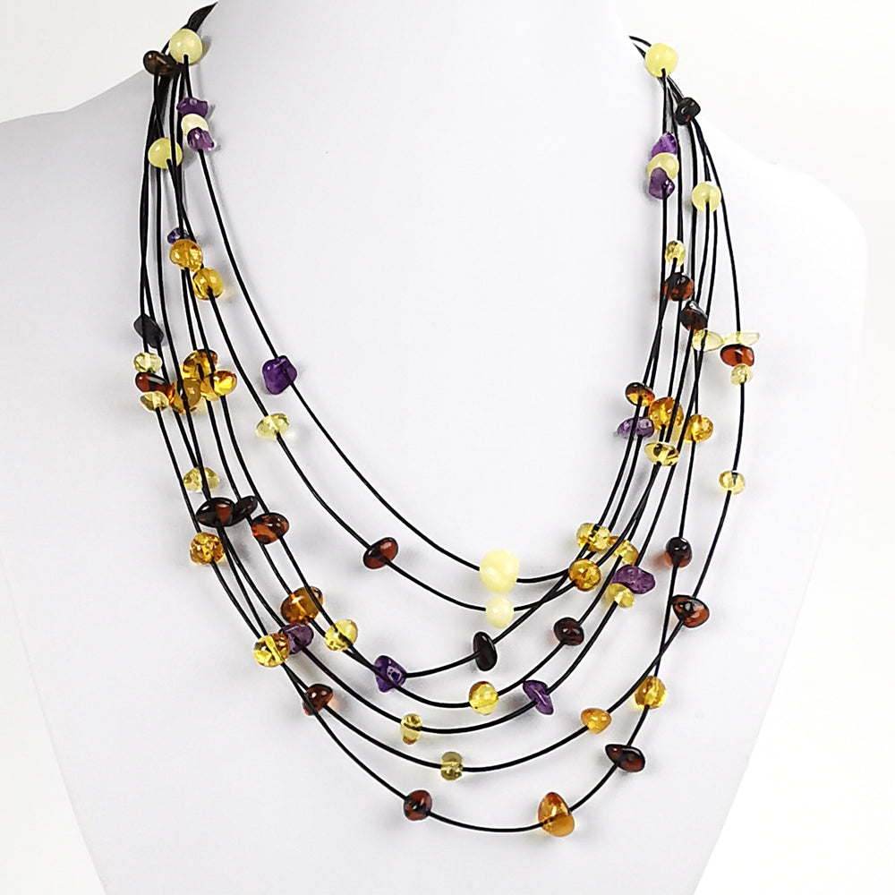 Multi-Color Amber & Amethyst Necklace - Amber Alex Jewelry