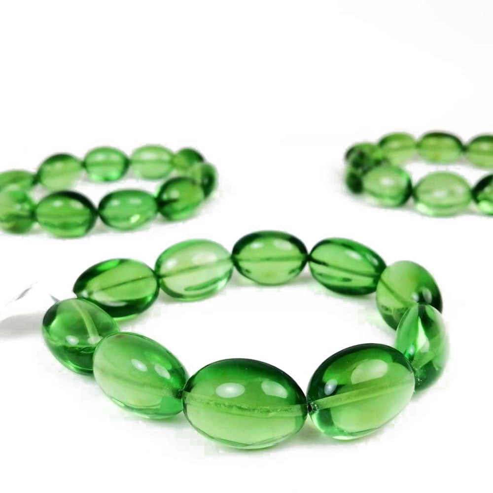 Green Amber Nugget Stretch Bracelet - Amber Alex Jewelry