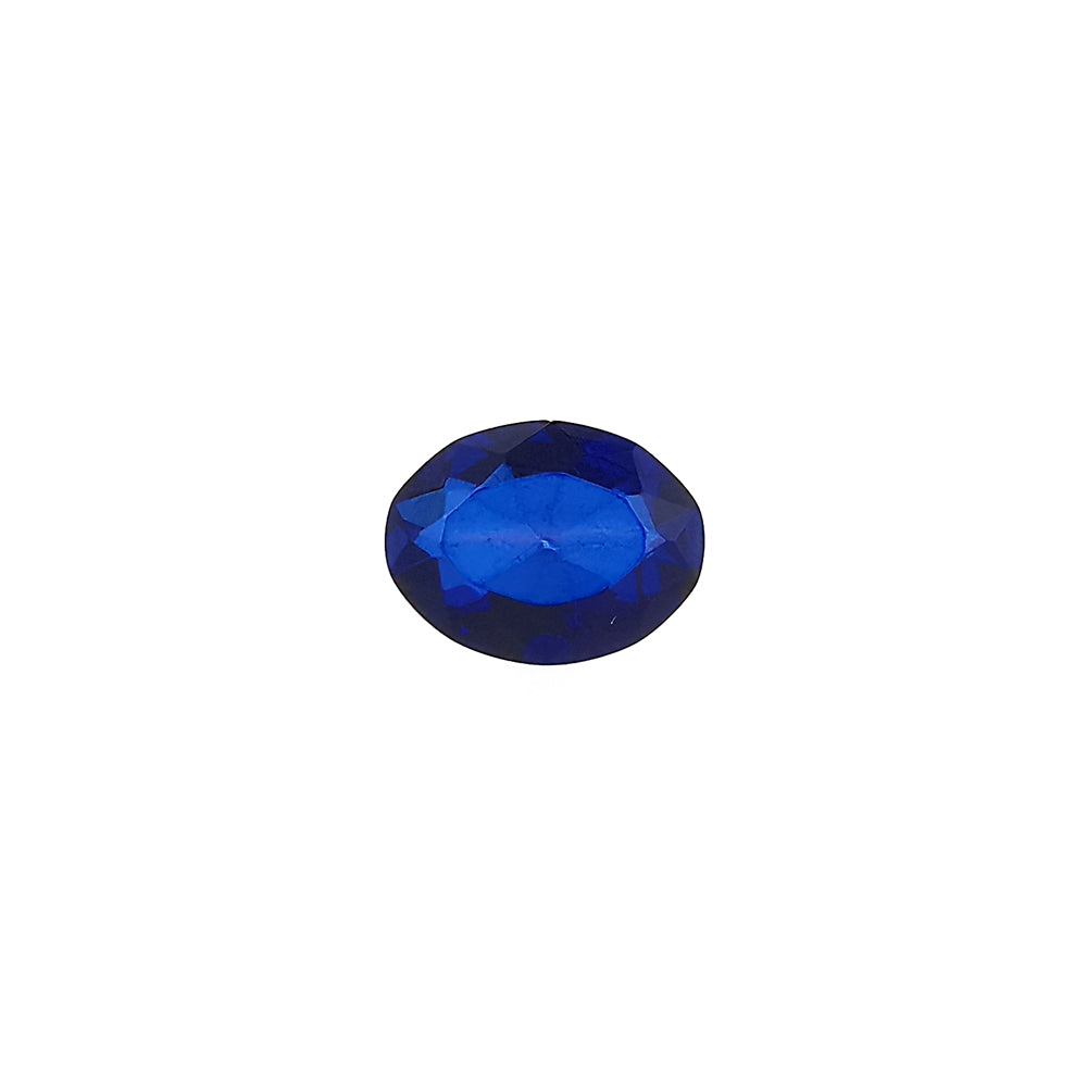 Blue Amber Faceted Oval Diamond Cut Stone