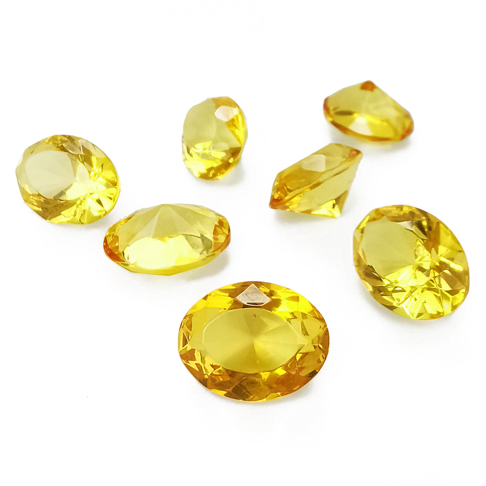 Lemon Amber Faceted Oval Diamond Cut Stone