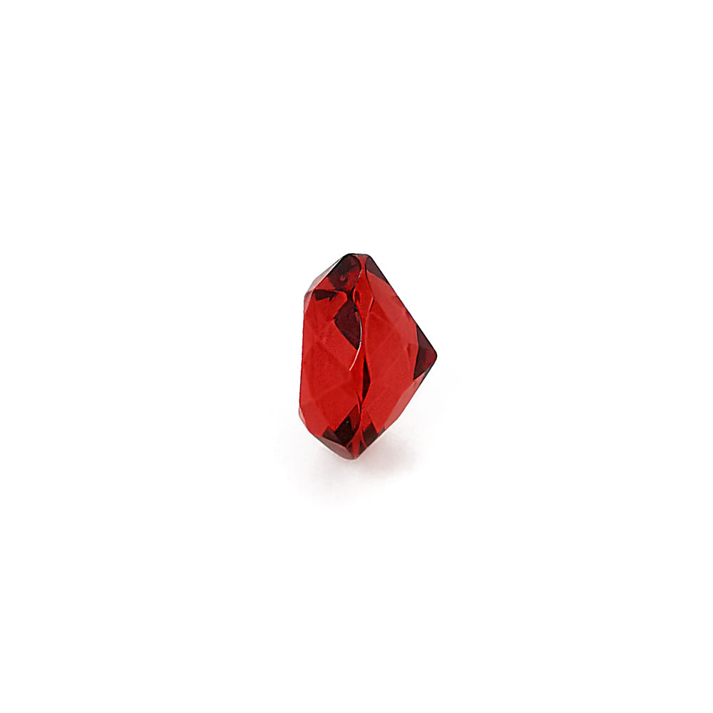 Red Amber Faceted Round Diamond Cut Stone
