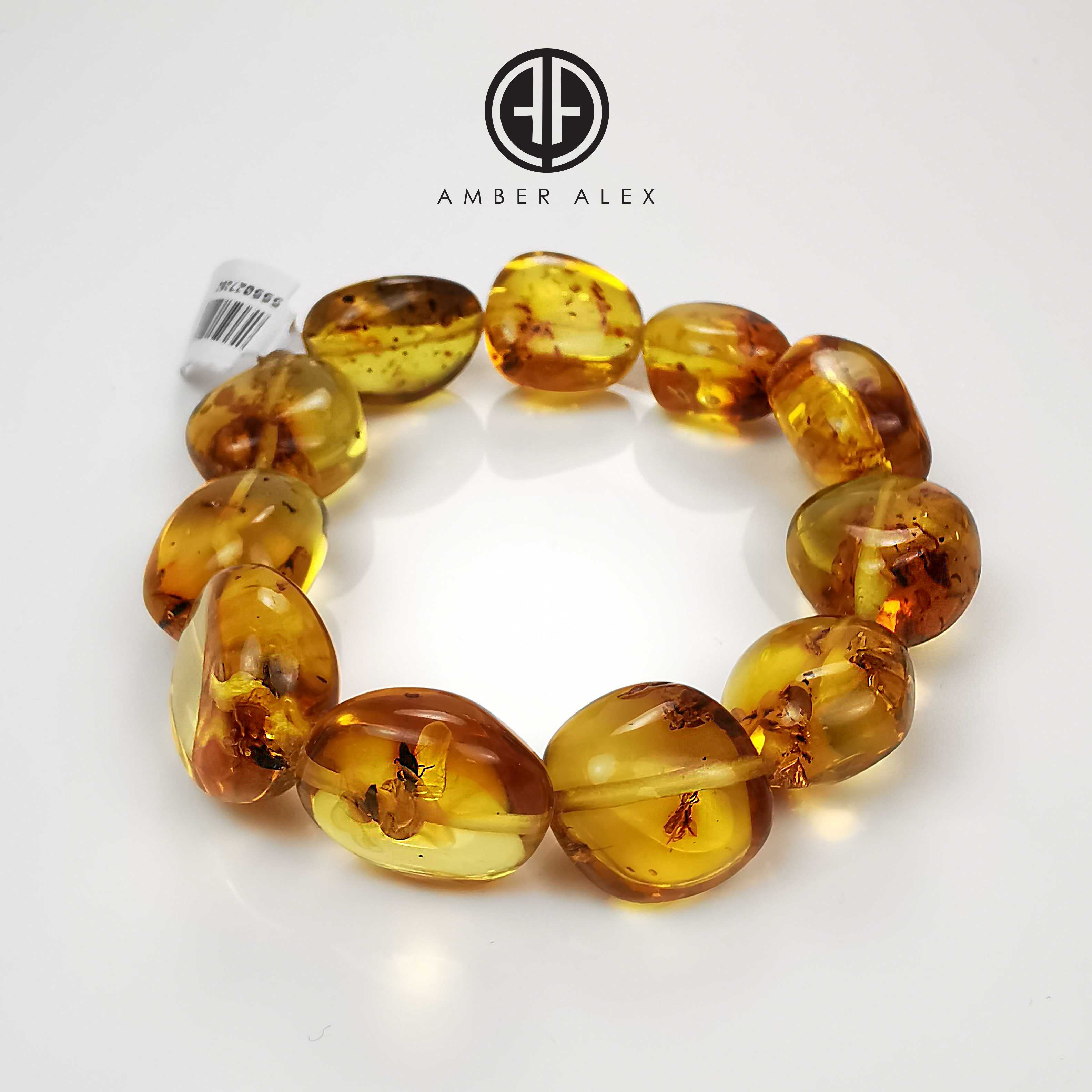 Green Amber Nugget Beads with Insects Stretch Bracelet
