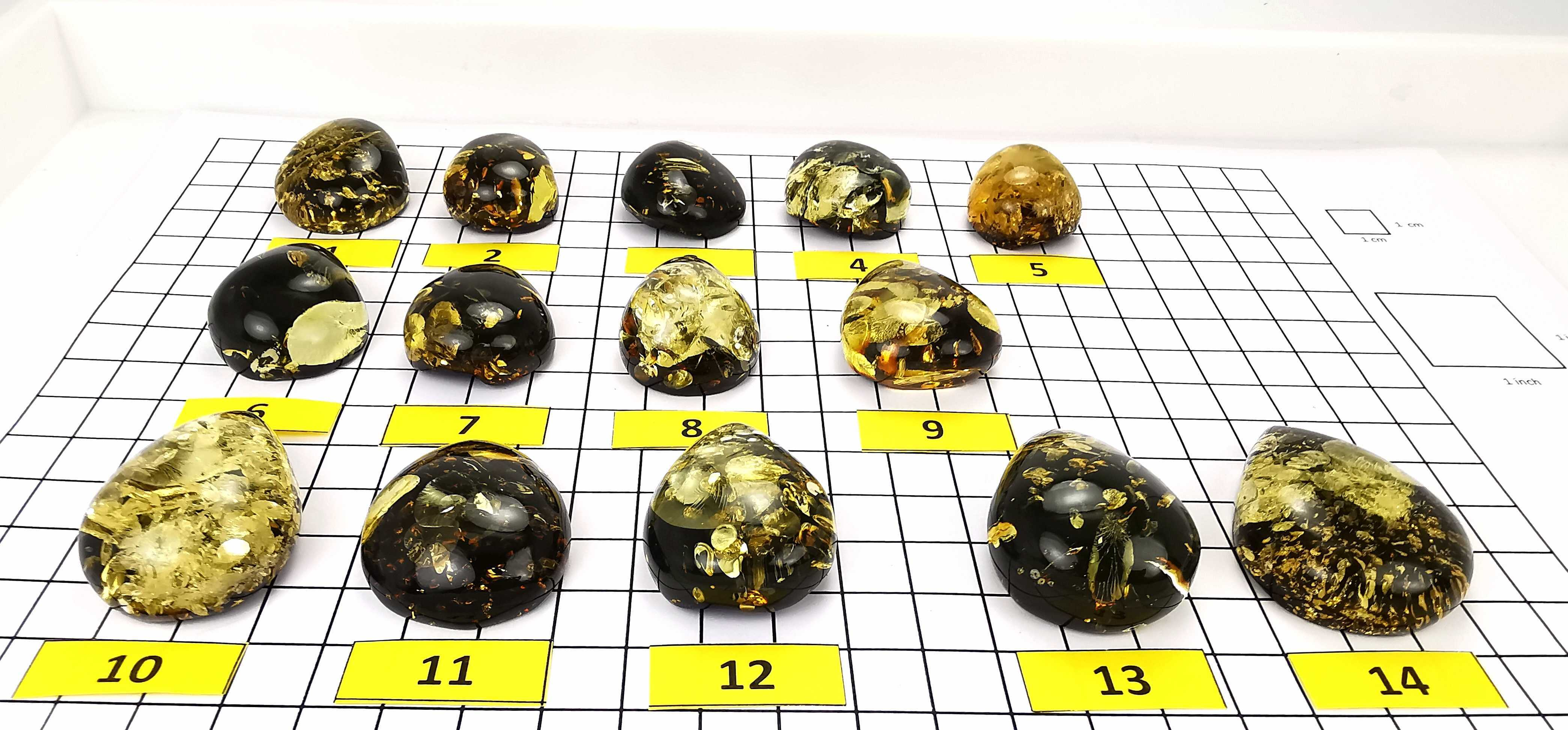 """Earth Stone"" Green Amber Handmade Drop Cabochons"
