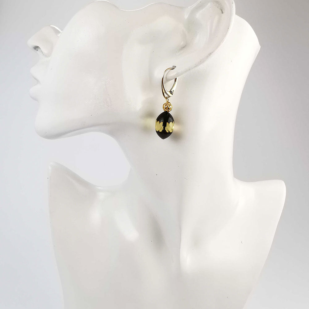 SPARKLING ELEGANCE Faceted Amber Olive Dangle Earrings 14K Gold Plated
