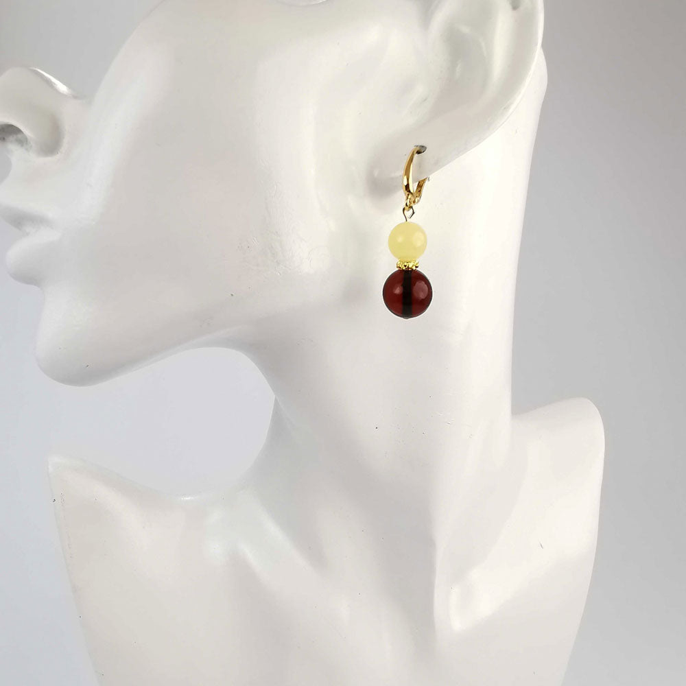 Milky and Cherry Amber Round Dangle Earrings 14K Gold Plated