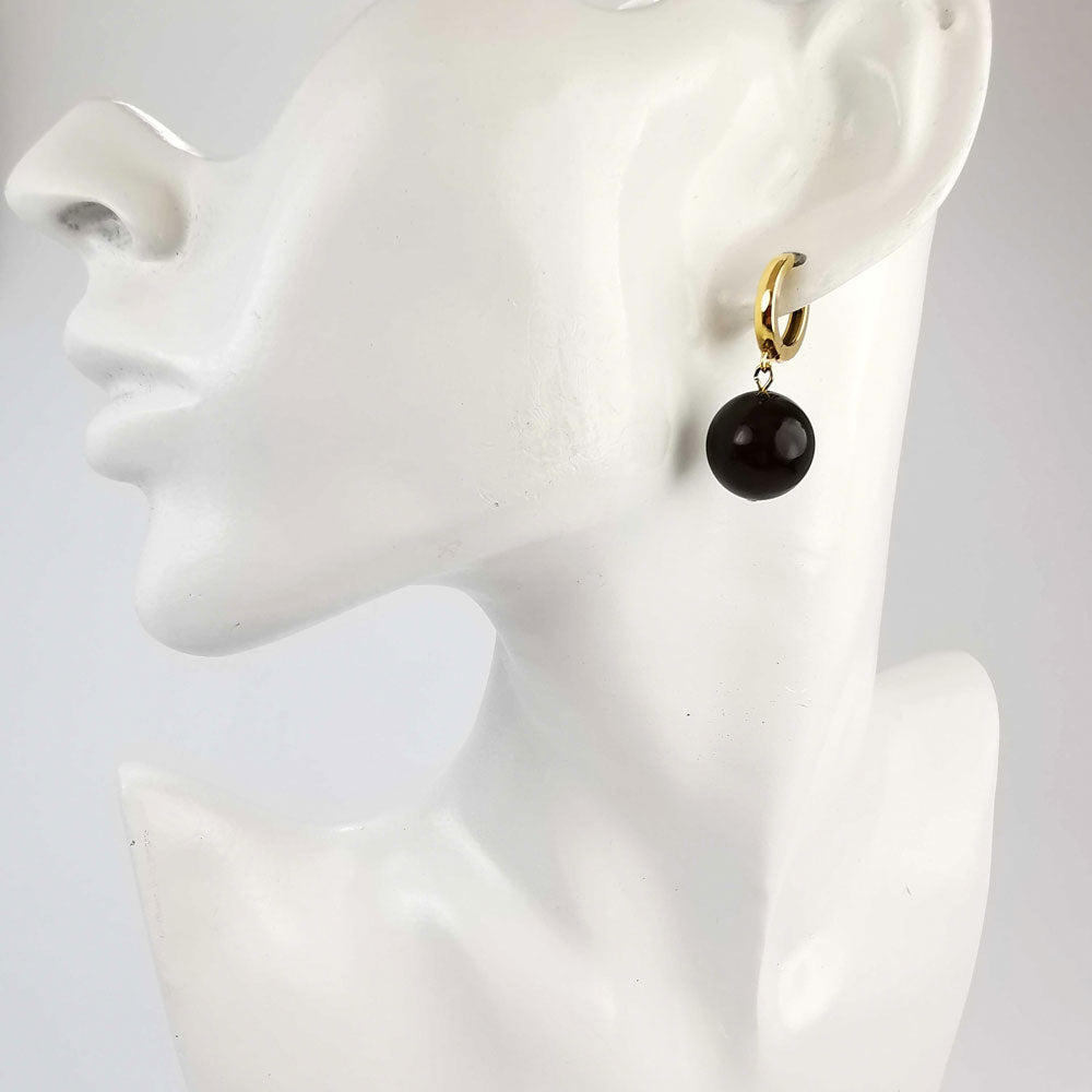 Cherry Amber Round Dangle Earrings 14K Gold Plated