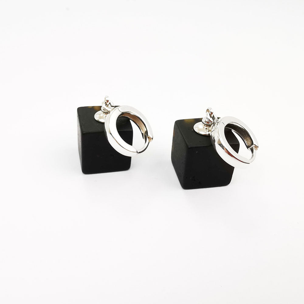 Black Amber Cube Dangle Earrings Sterling Silver