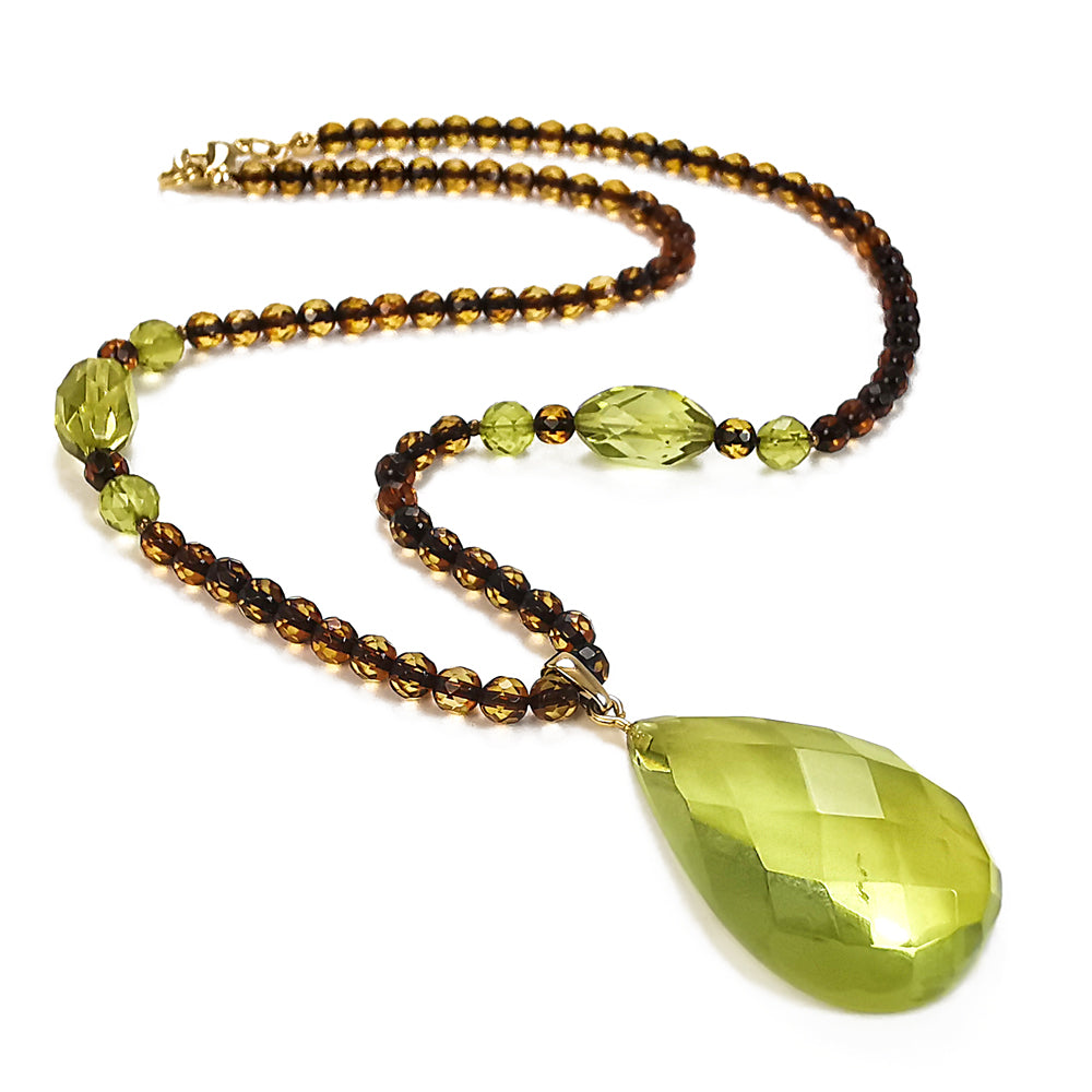 Green Amber Faceted Drop Pendant Beaded Necklace