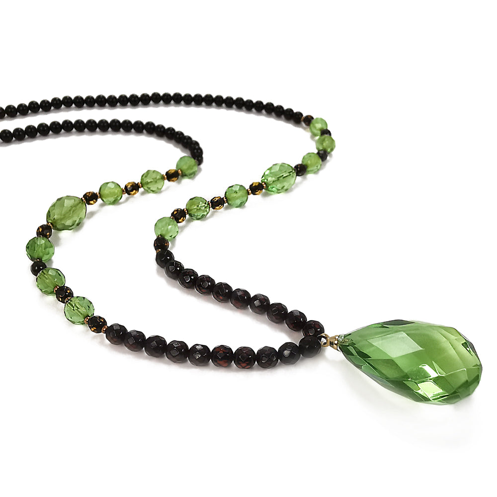 Green & Cherry Amber Beaded Necklace