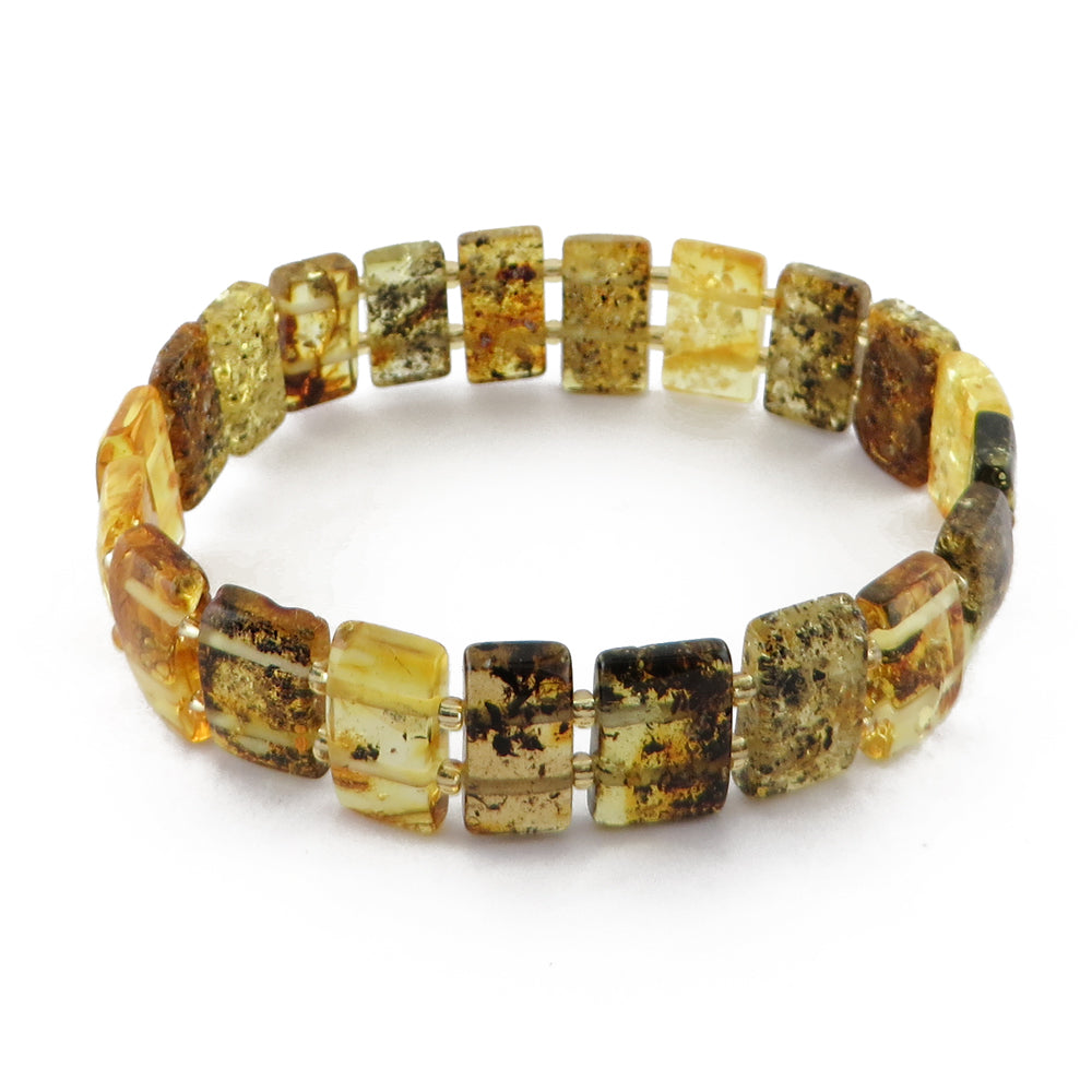 Fossil Amber Rectangle Beads Stretch Bracelet - Amber Alex Jewelry