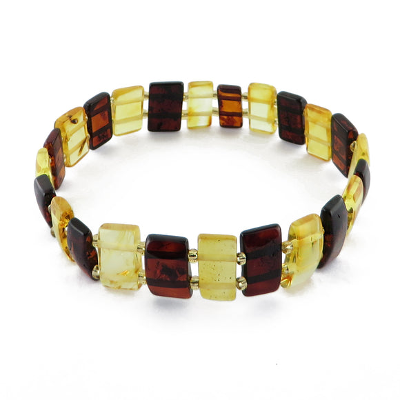 Multi-Color Amber Rectangle Beads Stretch Bracelet - Amber Alex Jewelry