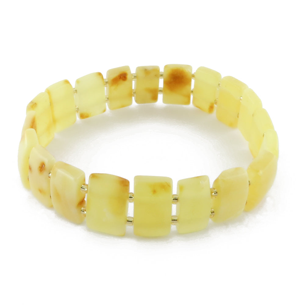 Milky Amber Rectangle Beads Stretch Bracelet - Amber Alex Jewelry