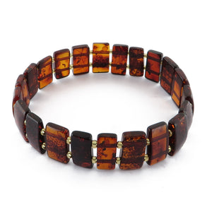 Cherry Amber Rectangle Beads Stretch Bracelet - Amber Alex Jewelry