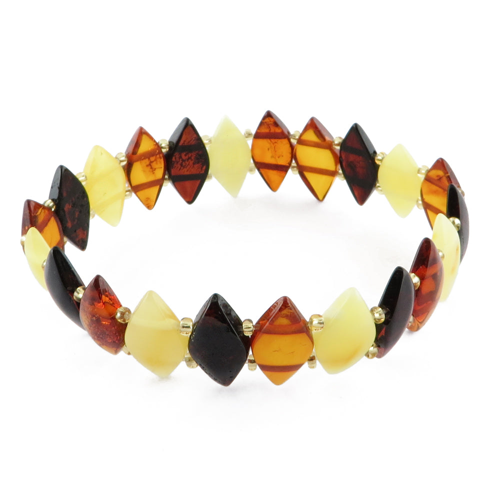 Multi-Color Amber Marquise Beads Stretch Bracelet - Amber Alex Jewelry