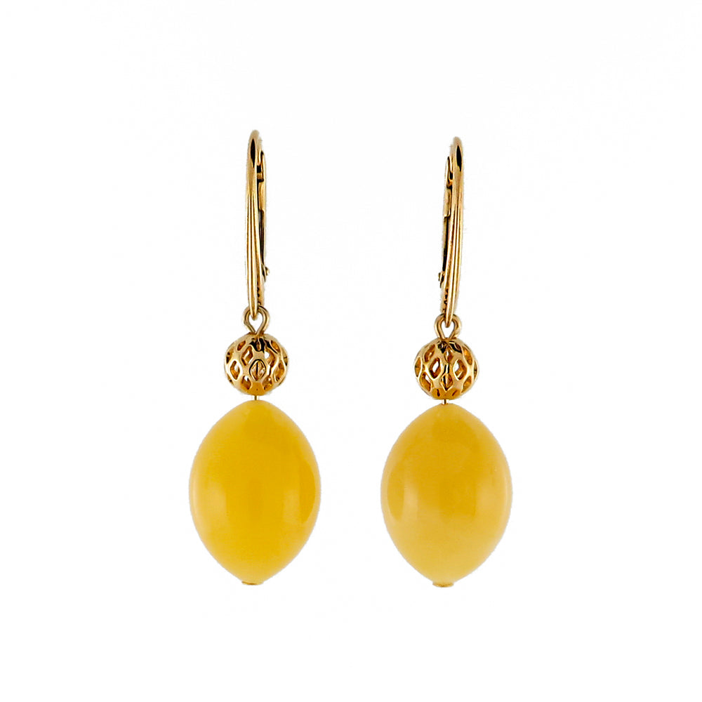 Milky Amber Olive Dangle Earrings 14K Gold Plated - Amber Alex Jewelry
