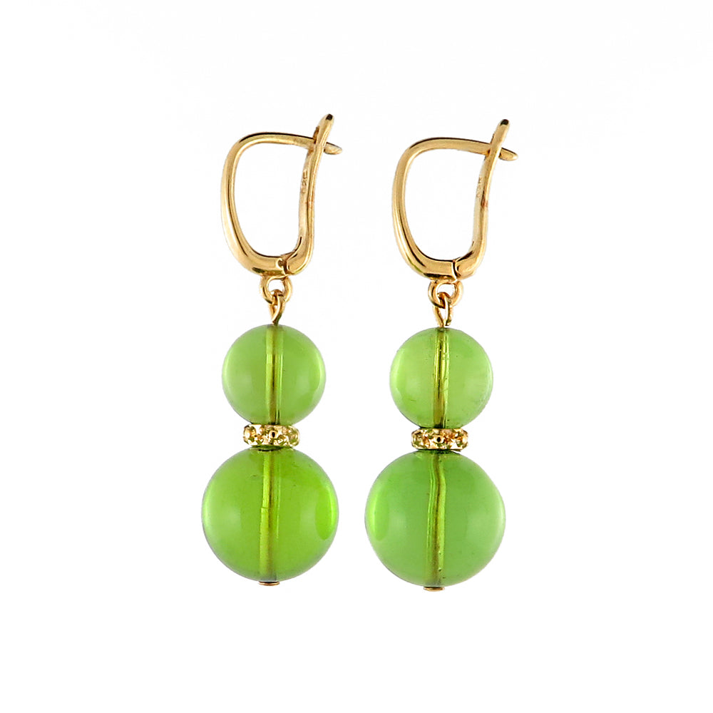 Green Amber Round Dangle Earrings 14K Gold Plated