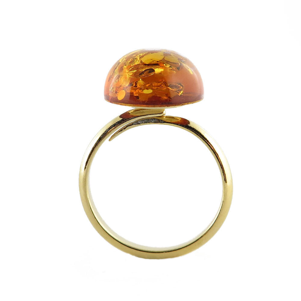 Cognac Amber Oval Adjustable Ring 14K Gold Plated - Amber Alex Jewelry