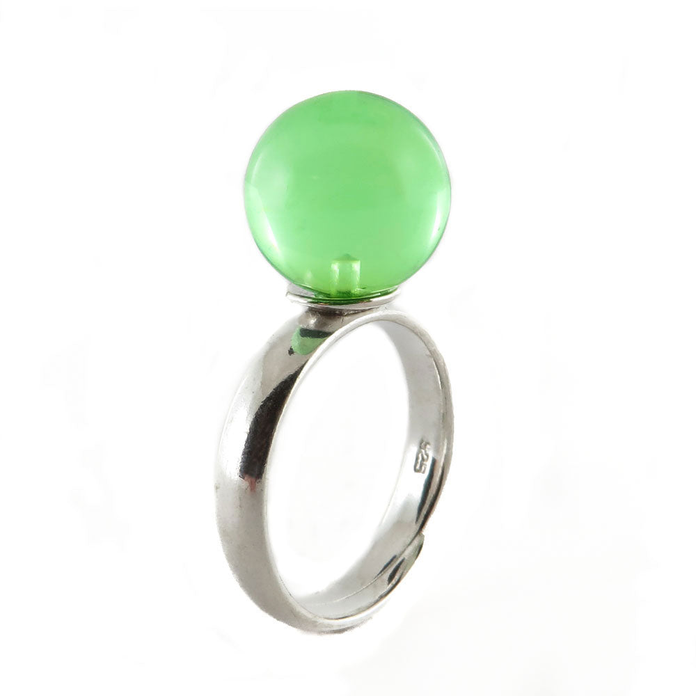 Green Amber Round Bead Adjustable Ring Sterling Silver - Amber Alex Jewelry