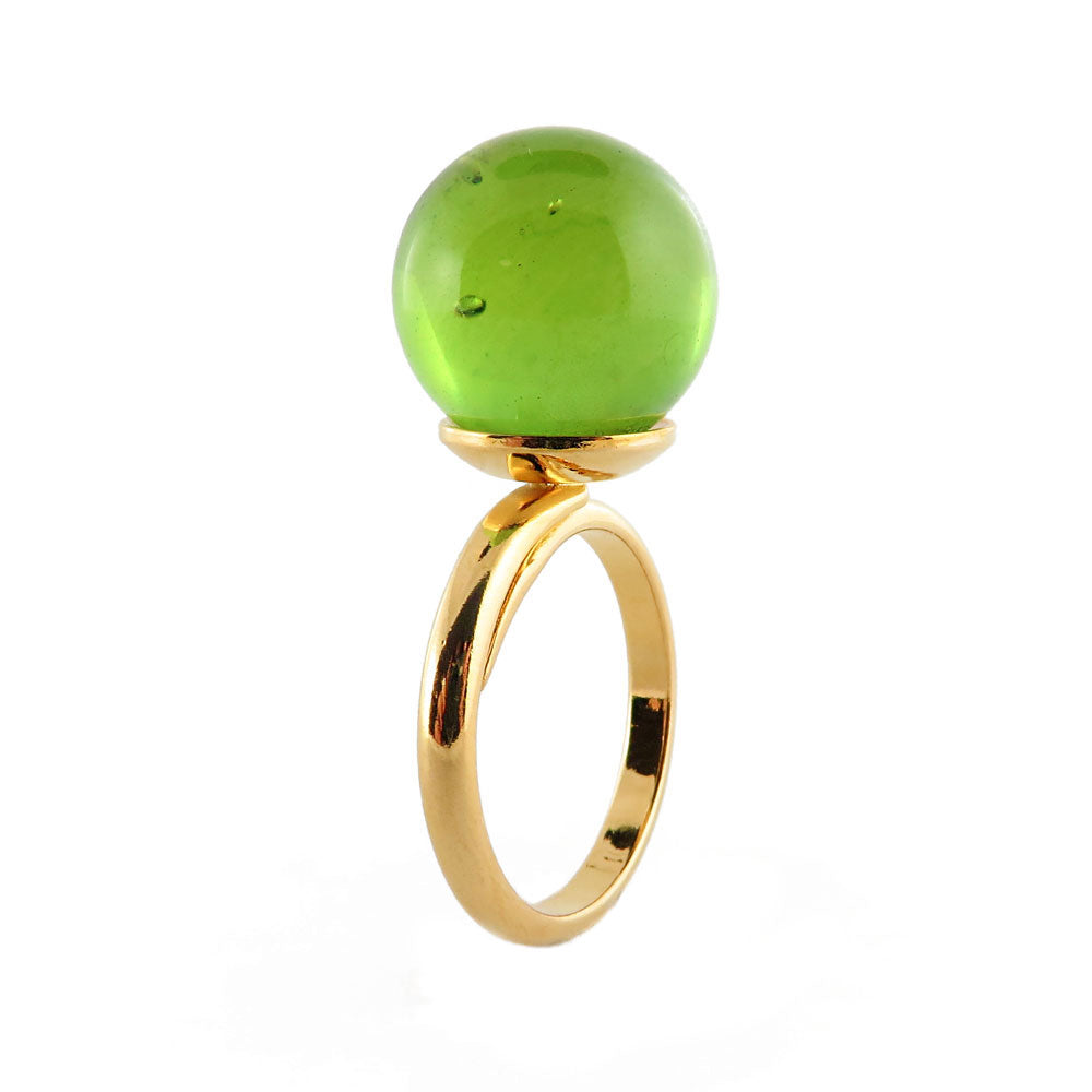 Green Amber Round Bead Adjustable Ring 14K Gold Plated - Amber Alex Jewelry