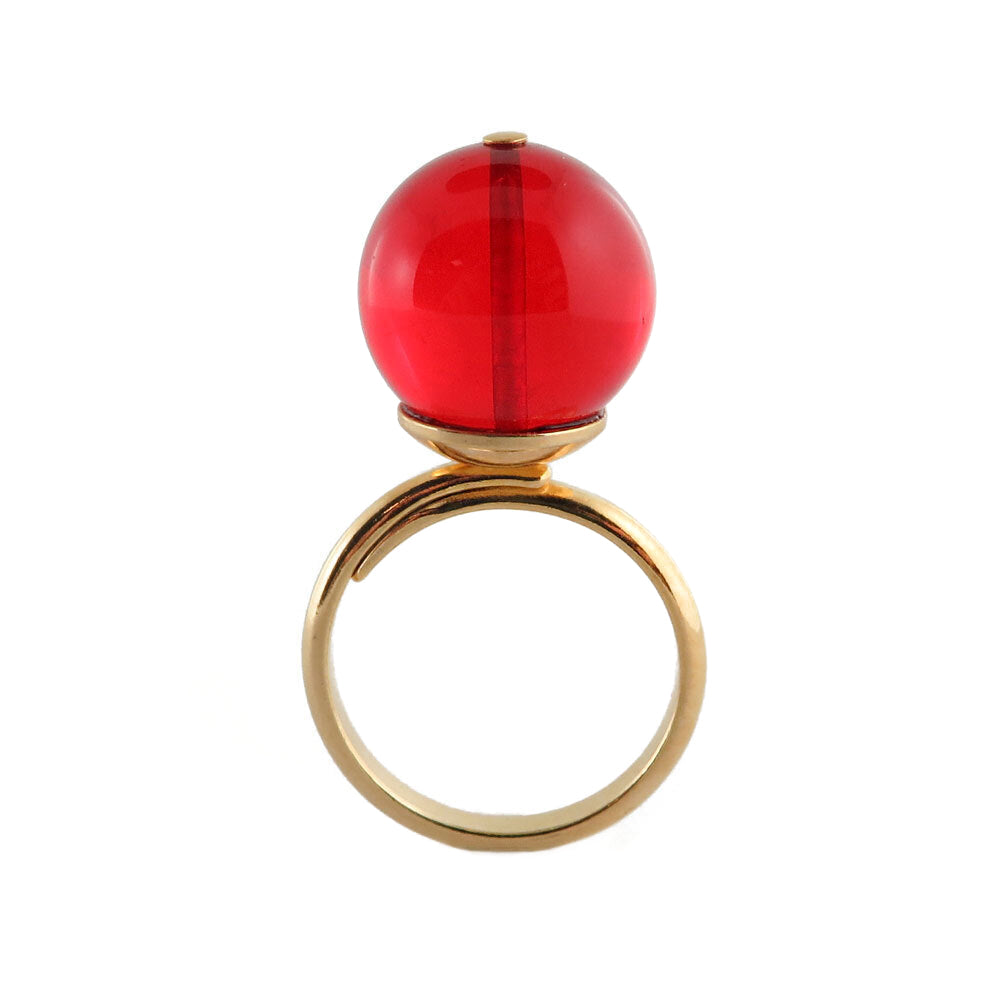 Red Amber Round Bead Adjustable Ring 14K Gold Plated