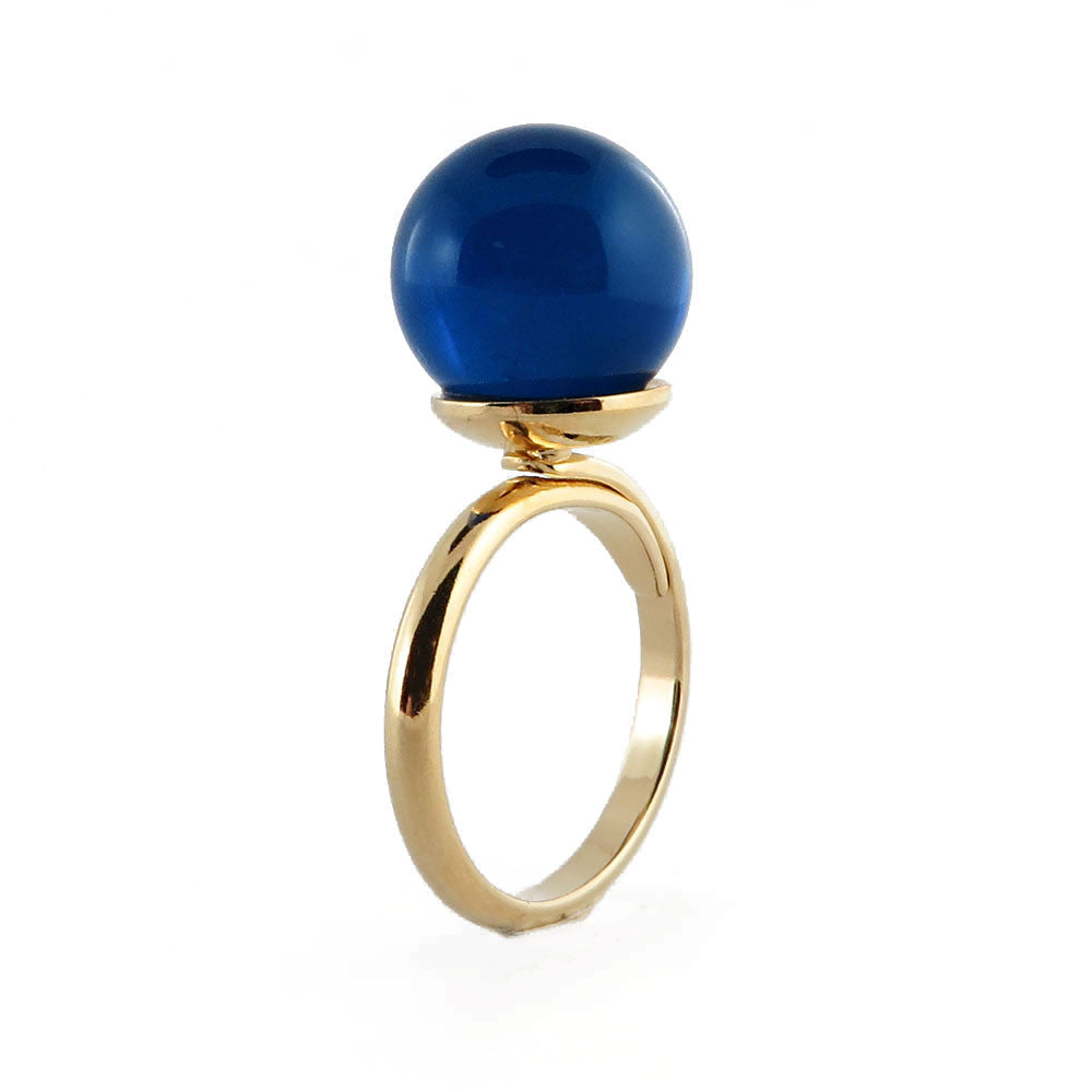 Blue Amber Round Bead Adjustable Ring 14K Gold Plated - Amber Alex Jewelry