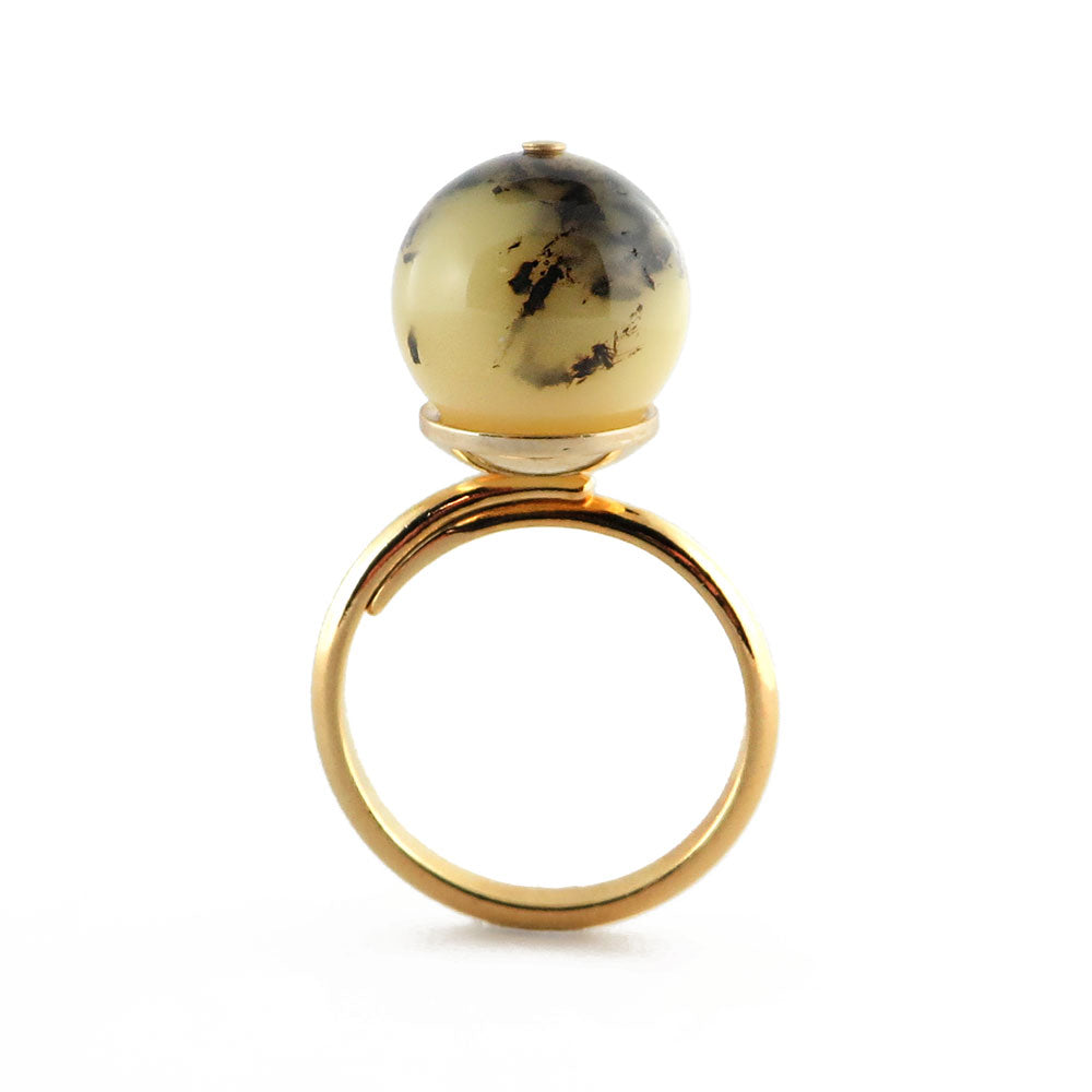 Milky-Fossil Amber Round Bead Adjustable Ring 14K Gold Plated - Amber Alex Jewelry