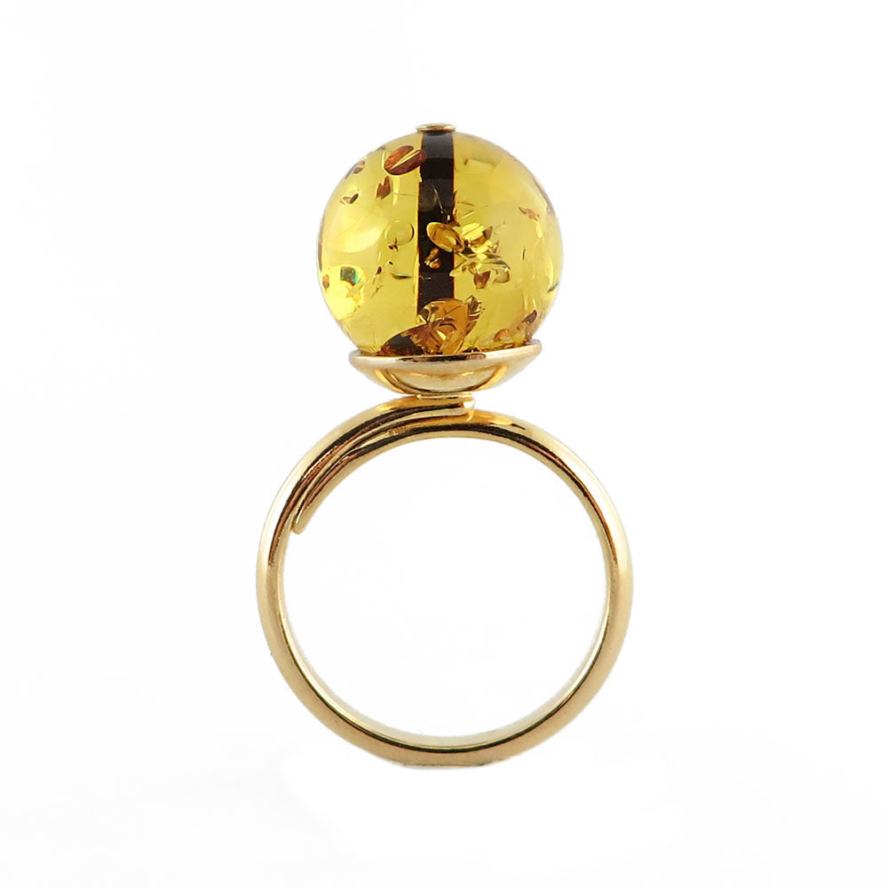 Fossil Amber Round Bead Adjustable Ring 14k Gold Plated - Amber Alex Jewelry