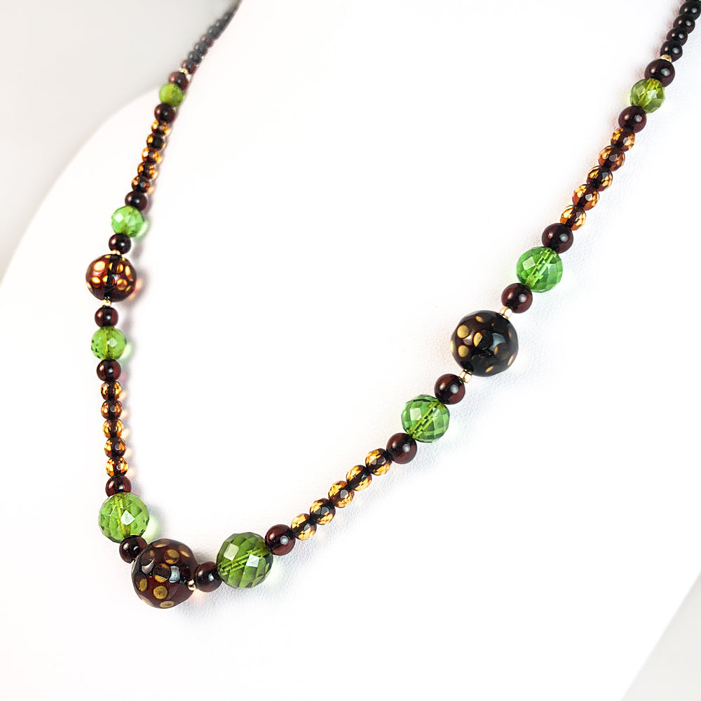 Faceted Amber Beads Necklace