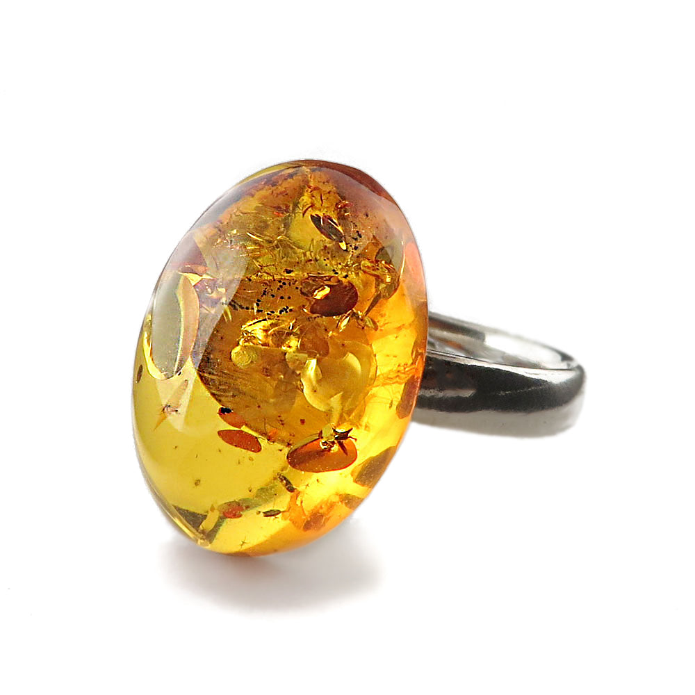 Cognac Amber Oval Adjustable Ring Sterling Silver
