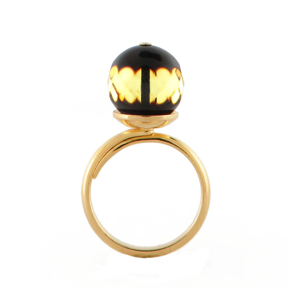 Faceted Amber Round Bead Adjustable Ring 14K Gold Plated - Amber Alex Jewelry