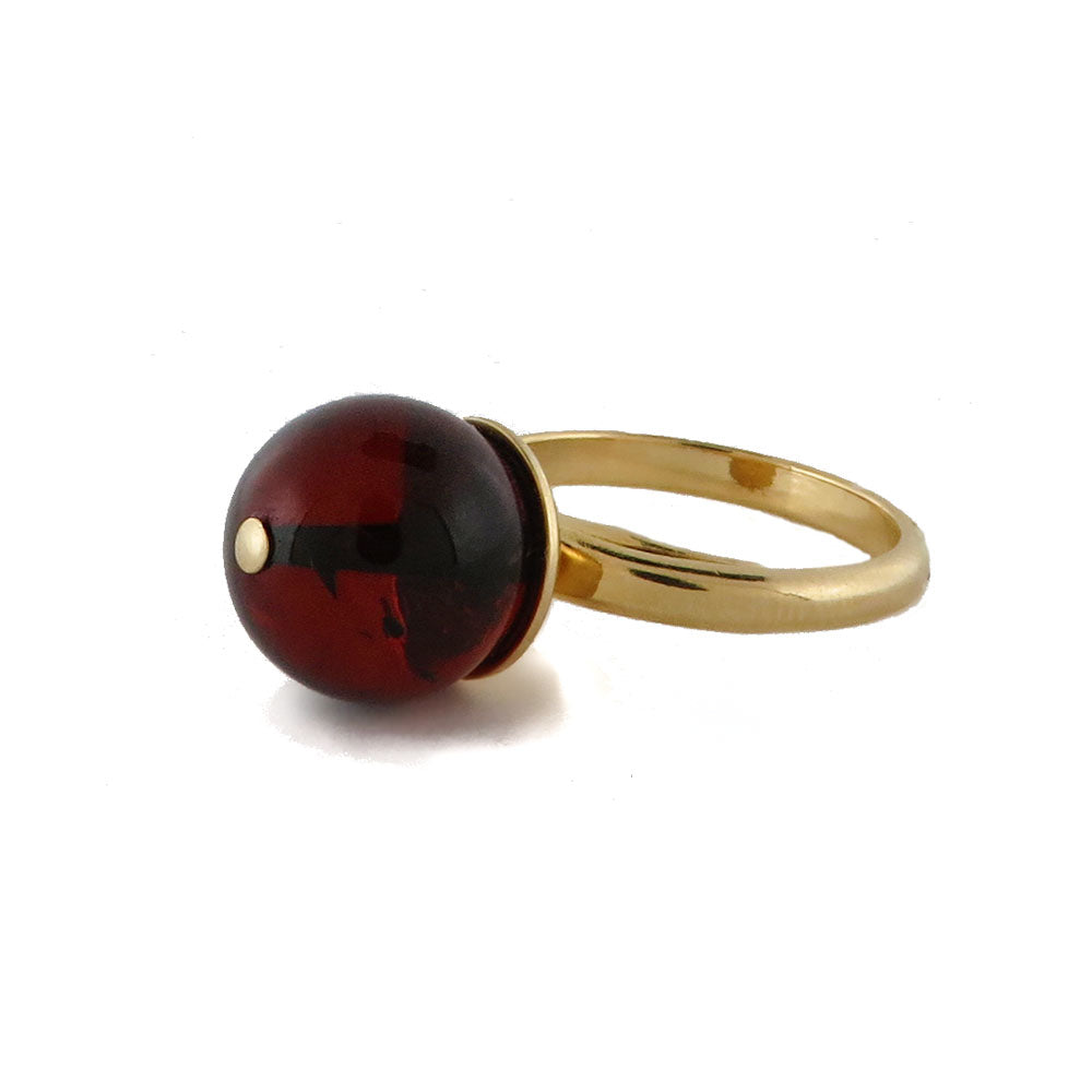 Cherry Amber Round Beads Adjustable Ring - Amber Alex Jewelry
