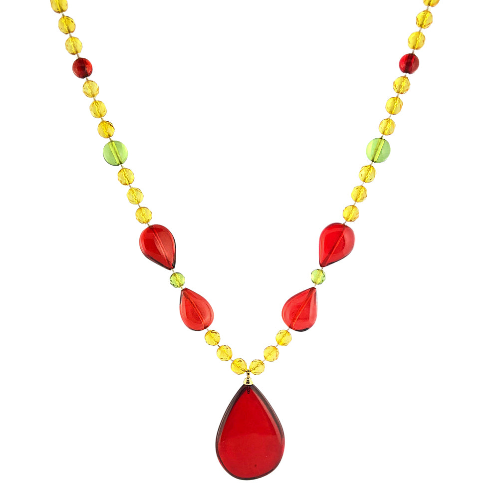 Red Amber Drop Pendant Beaded Necklace