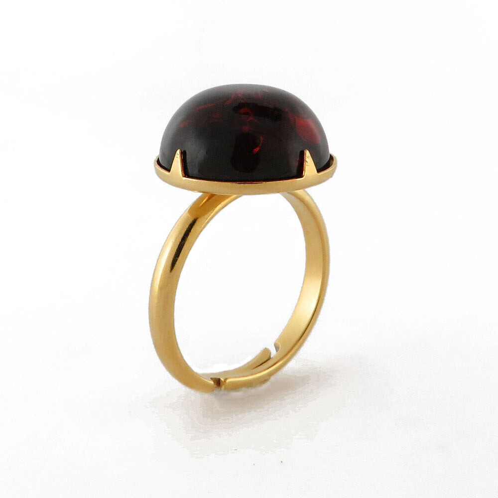 Cherry Amber Round Adjustable Ring - Amber Alex Jewelry