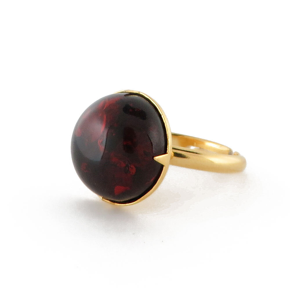 Milky Amber Round Adjustable Ring - Amber Alex Jewelry