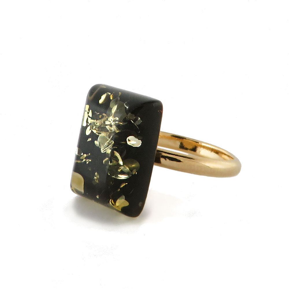 Earth Stone Amber Rectangular Adjustable Ring - Amber Alex Jewelry