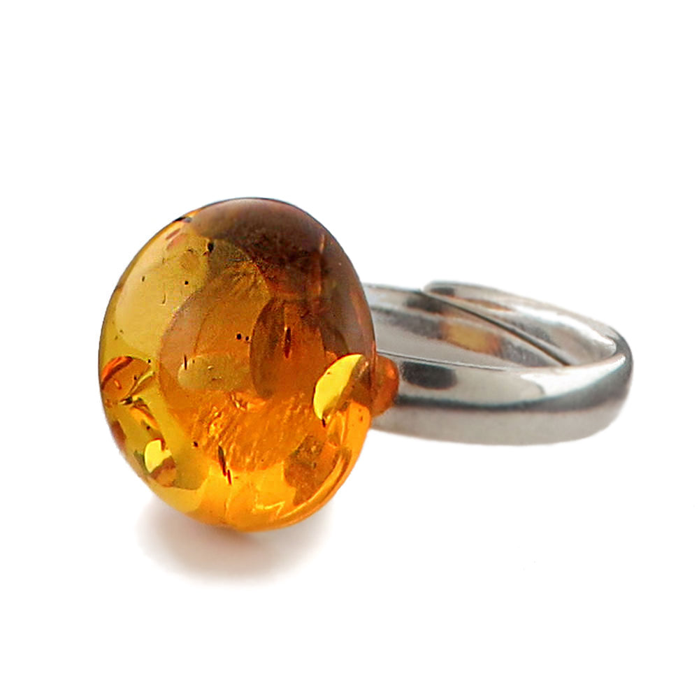 Cognac Amber Round Adjustable Ring Sterling Silver - Amber Alex Jewelry