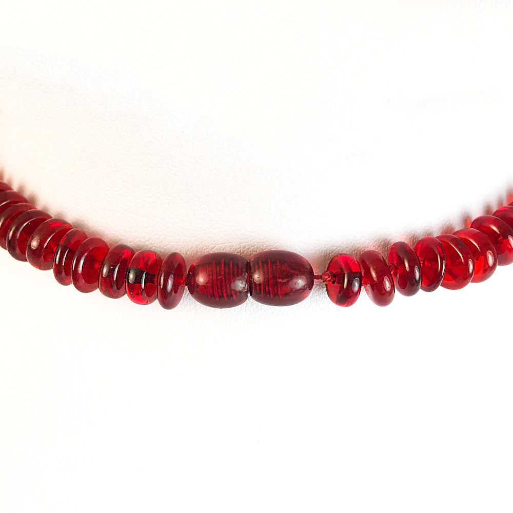 Red Amber Tablets Necklace