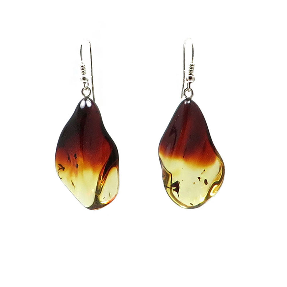 Gradient Amber Wave Dangle Earrings Sterling Silver - Amber Alex Jewelry