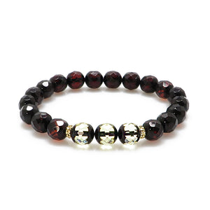 Cherry Amber Faceted Round Beads Stretch Bracelet - Amber Alex Jewelry