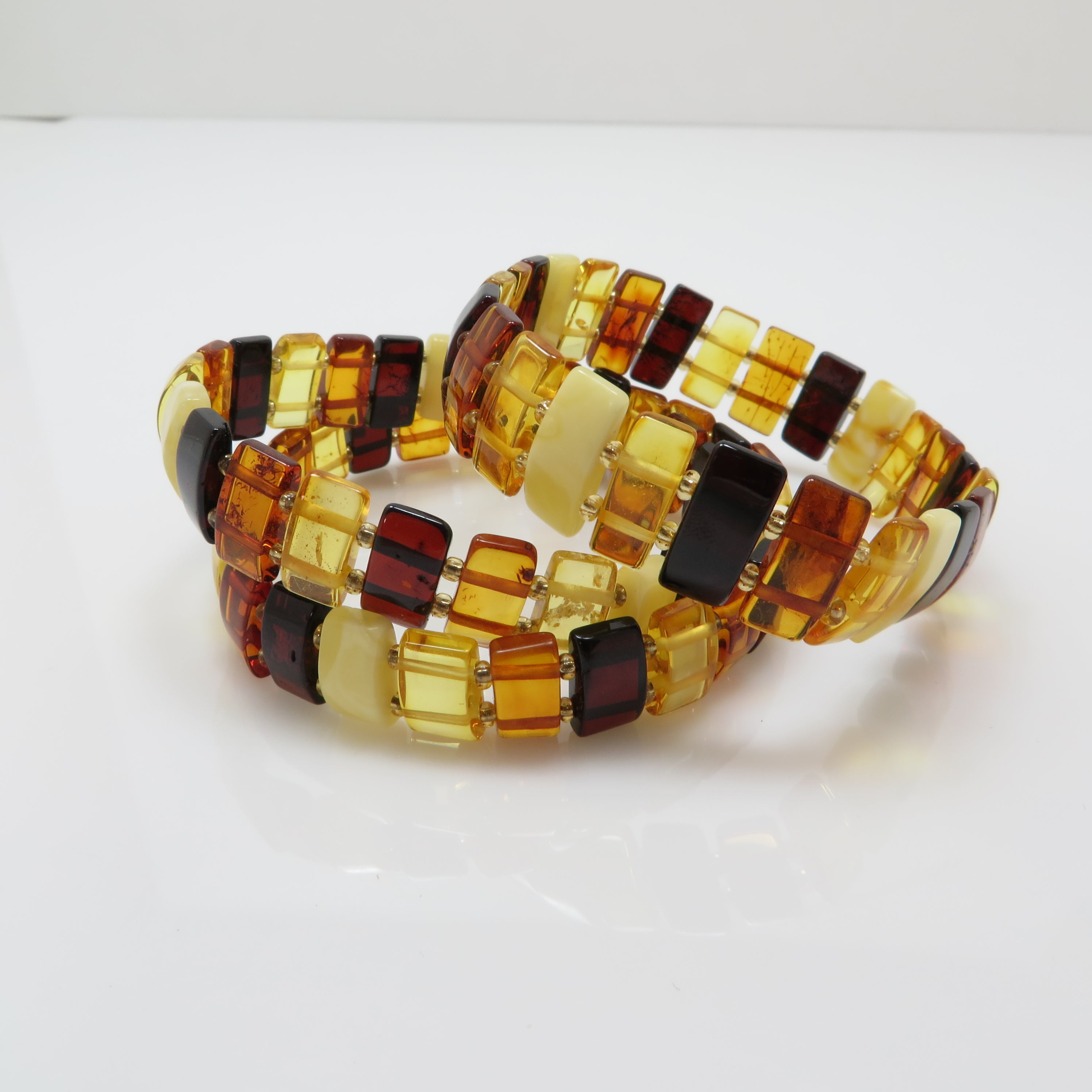 Multi-Color Amber Rectangle Beads Stretch Bracelet