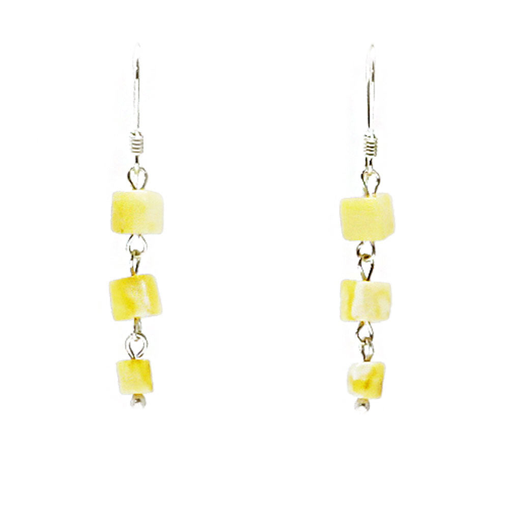 Milky Amber Cube Dangle Earrings Sterling Silver - Amber Alex Jewelry