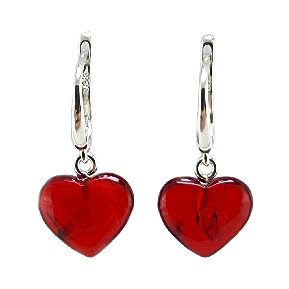 Red Amber Heart Dangle Earrings Sterling Silver
