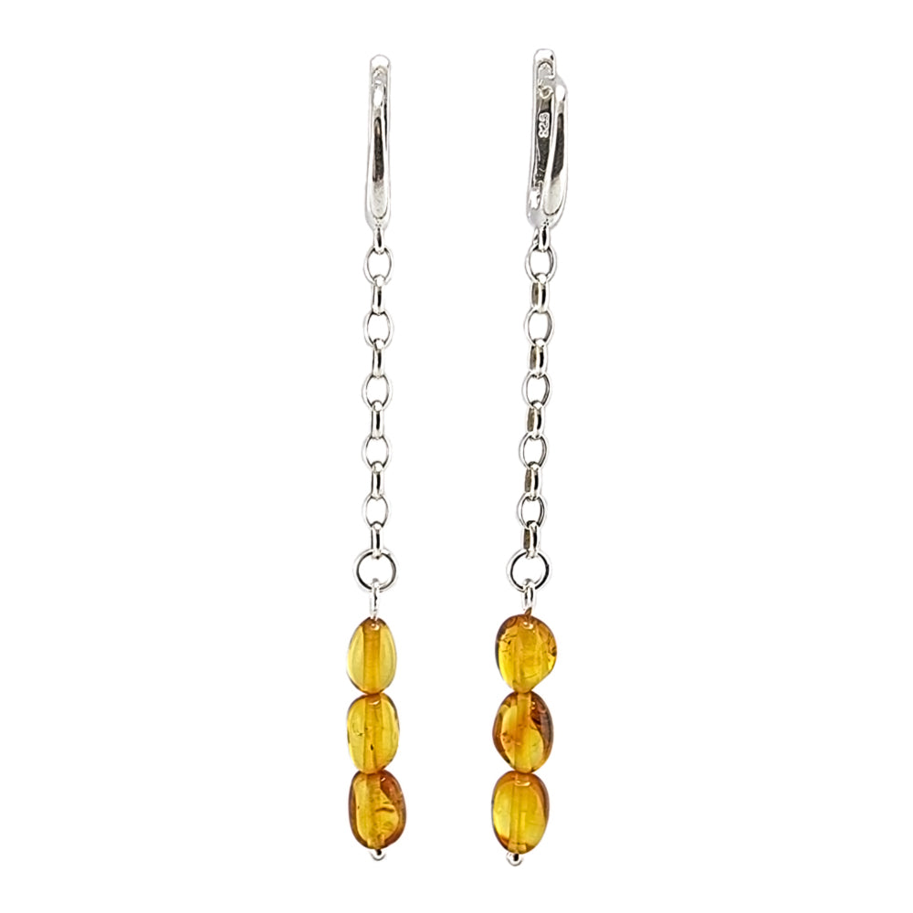 Cognac Amber Small Nugget Dangle Earrings Sterling Silver