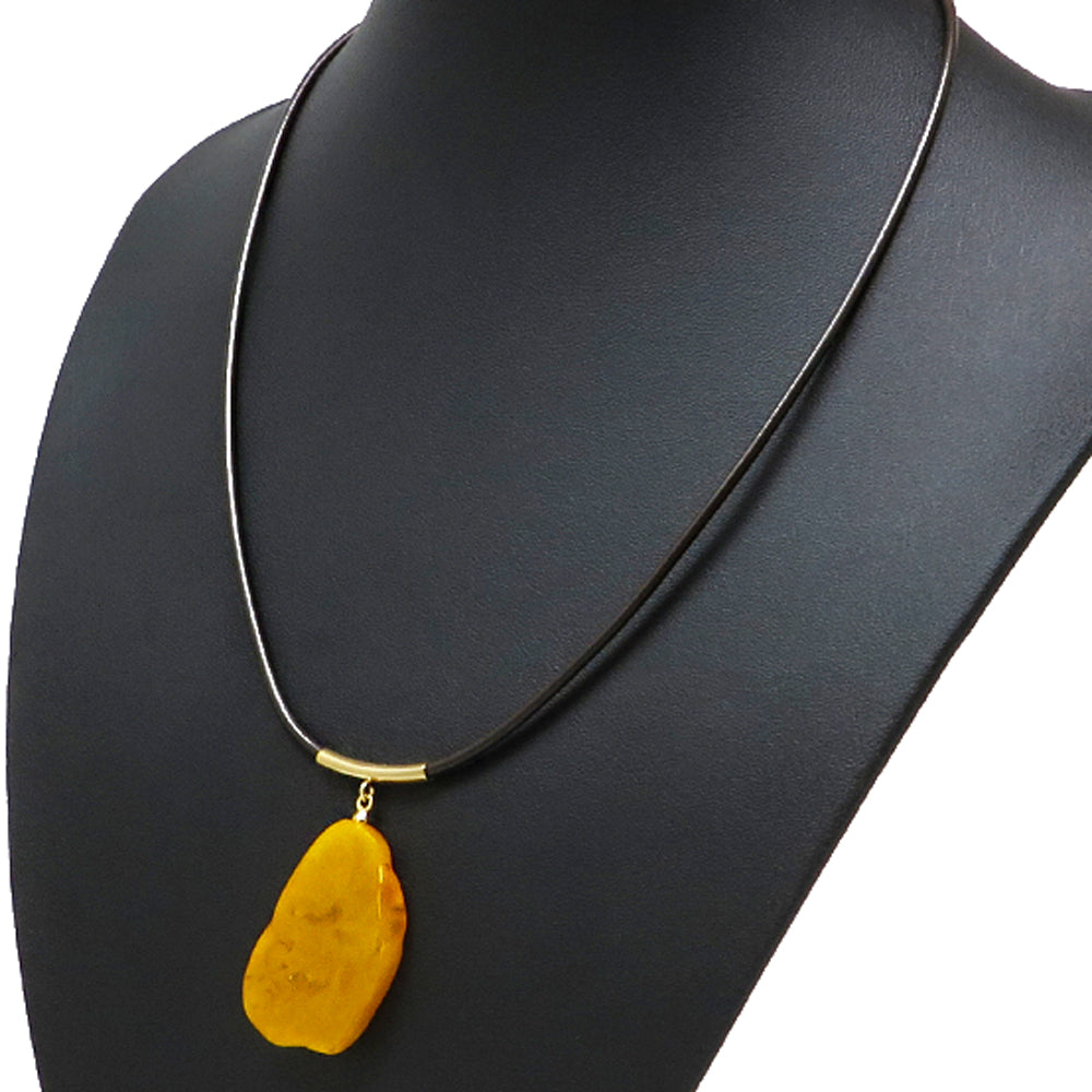 Antique Amber Slab Pendant & Leather Necklace - Amber Alex Jewelry