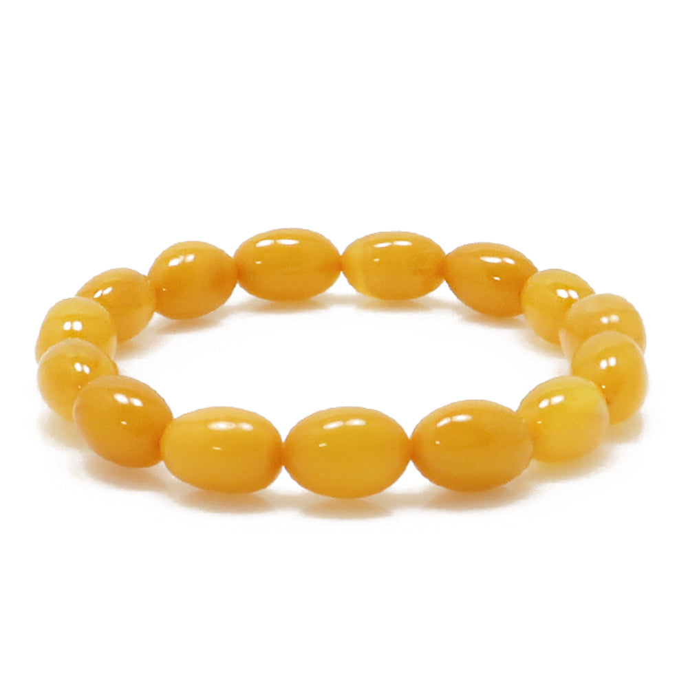 Antique Amber Olive Beads Stretch Bracelet - Amber Alex Jewelry