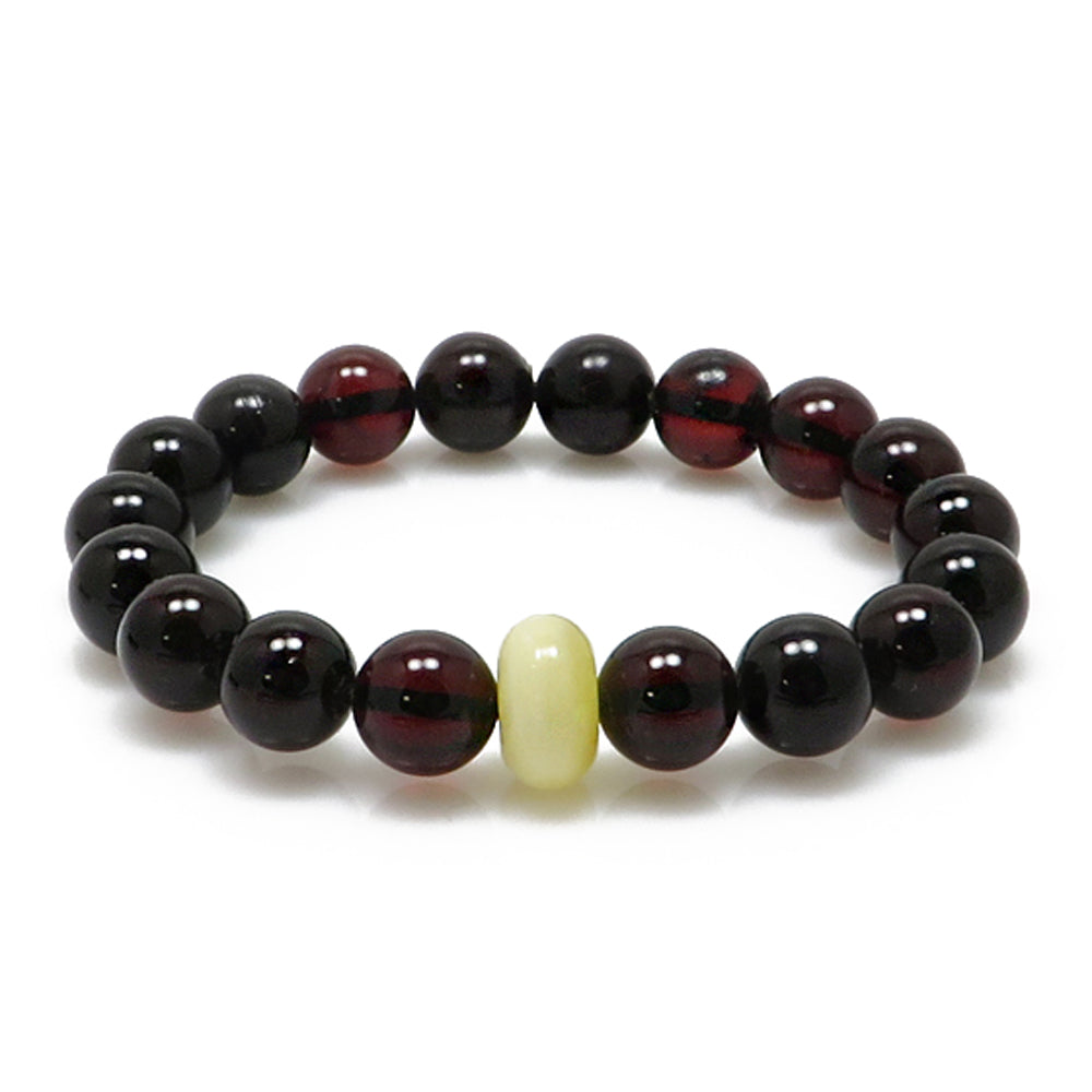 Cherry & Milky Amber Round Beads Stretch Bracelet - Amber Alex Jewelry